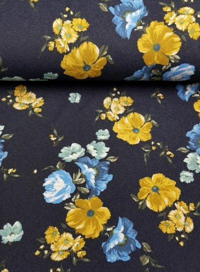 grote bloemen denim - happy fleece