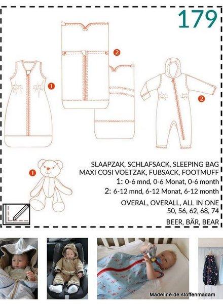 abacadabra - 179 - slaapzak, maxi-cosi voetzak, onesie, beer