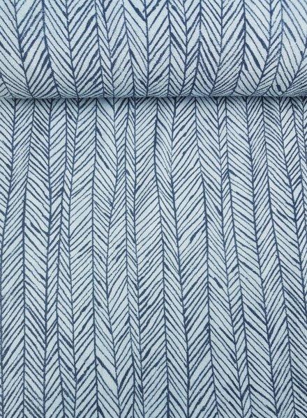 herringbone blue  - terry