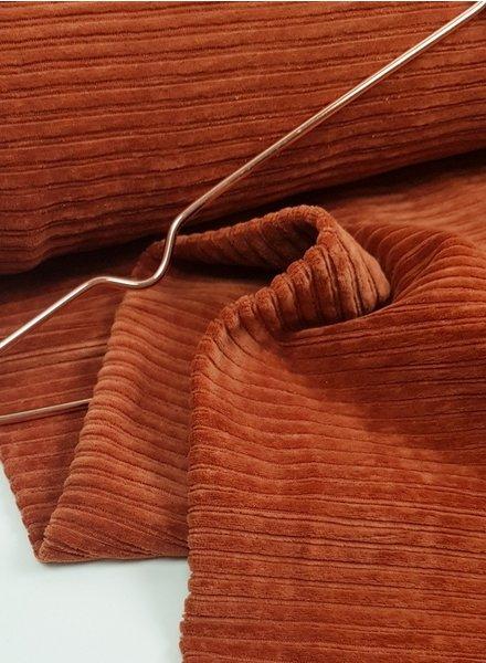 roest - rekbare corduroy - 100% katoen