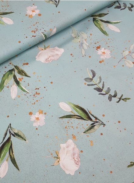Kim's flowers mint - cotton
