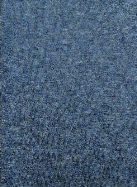 blauw - doorstikte sweater melange
