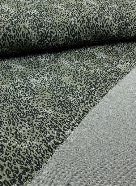 khaki leopard - textured jersey