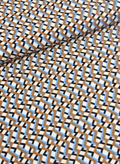 retro chevron print blauw - viscose