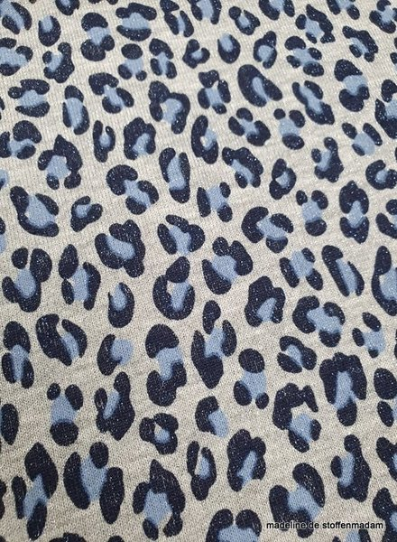leopard blue french terry - lurex