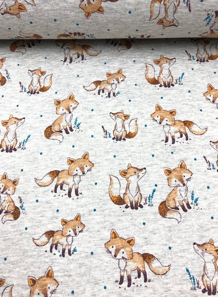 grey foxes  - happy fleece