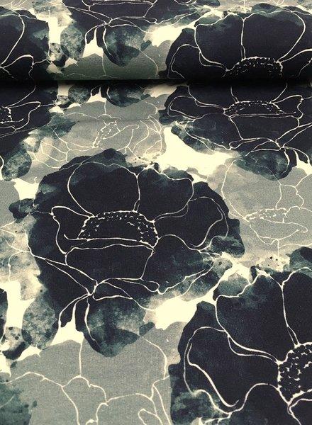 khaki harry abstracte bloem - dunne sweater
