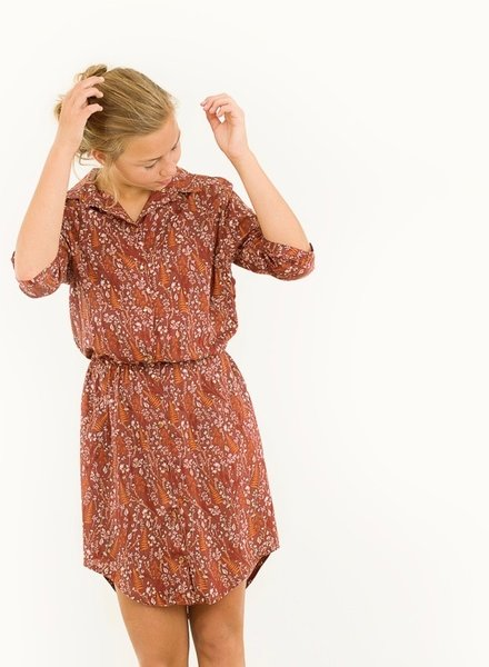 See You at Six viscose rayon Ferns & Flowers - Tortoise Bruin