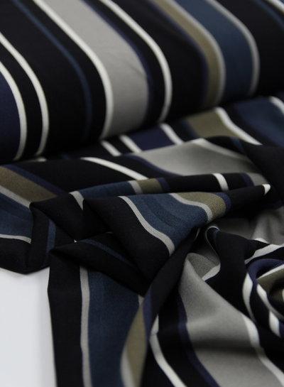 blue/brown vertical stripes - crêpe