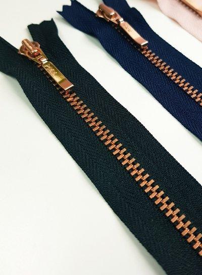 YKK rose / black - non divisible zipper