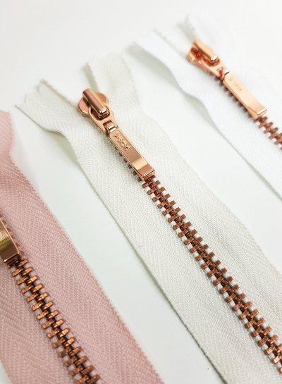 YKK rose / cream - non divisible zipper