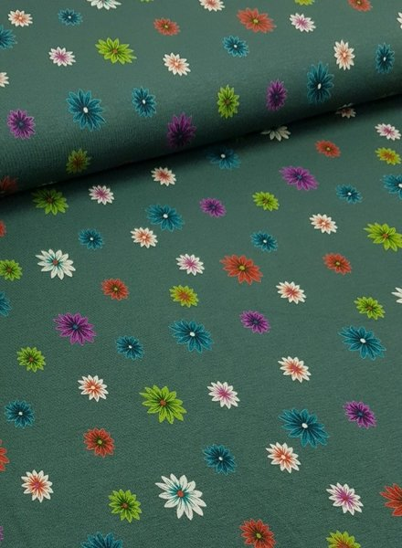 colored flowers - viscose tricot