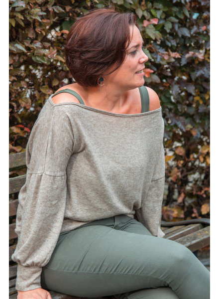 khaki knitted fabric  - super soft