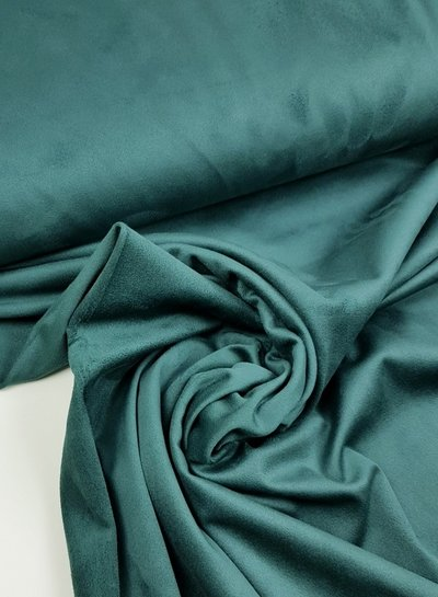 petrol - stretch suede fabric
