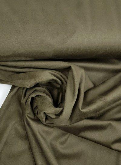 khaki - rekbare soepelvallende suede