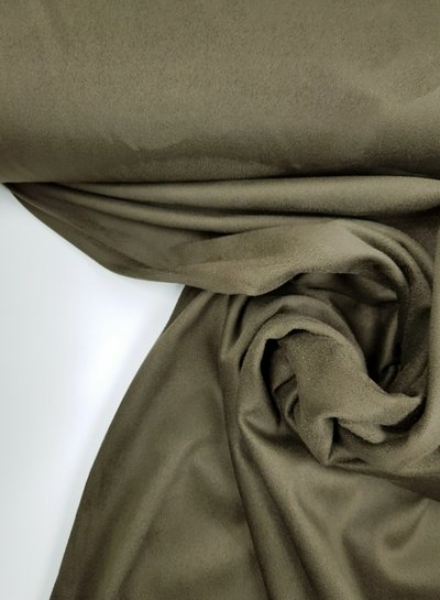 khaki -  stretch suede fabric