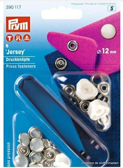 Prym press fastener jersey, pearl cap, 12mm