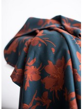 Mind The Maker fall flower teal rust - viscose