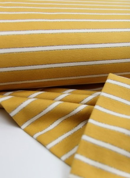 ochre lurex stripes - french terry