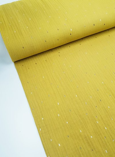 ochre foil stripes - tetra double gauze