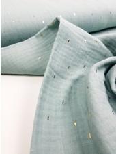 mint foil stripes - tetra double gauze