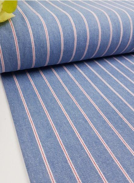 light denim red stripes - jeans cotton