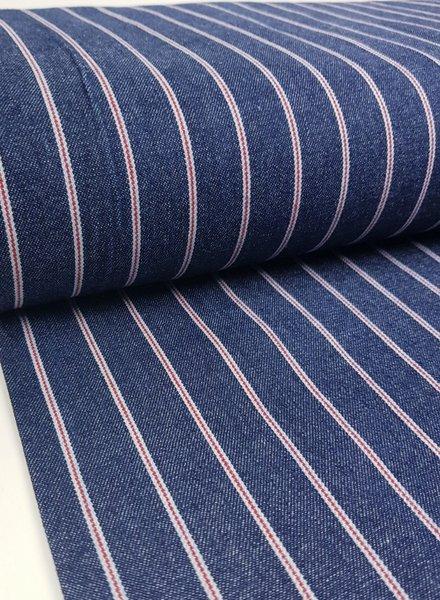 DARK denim red stripes - jeans cotton