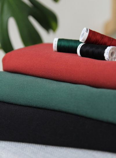 green - supple fabric - wool touch