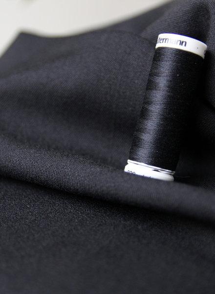 zwart - soepelvallende gabardine - wool touch