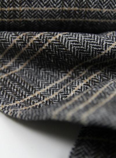 bruin visgraat  - wollen stof