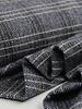 blauw visgraat  - wollen stof