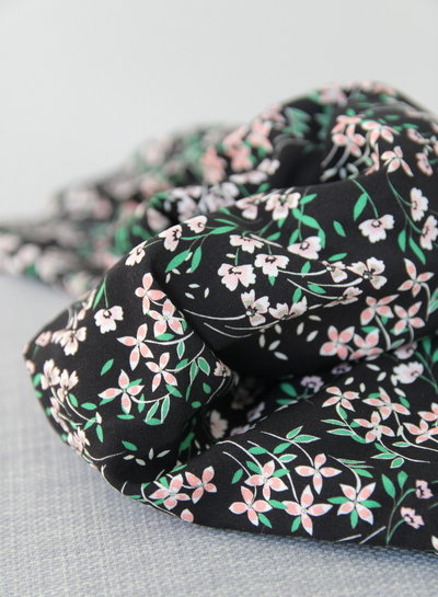 pink & green flowers - Italian viscose