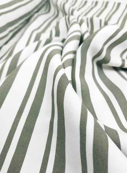 khaki lines - viscose twill