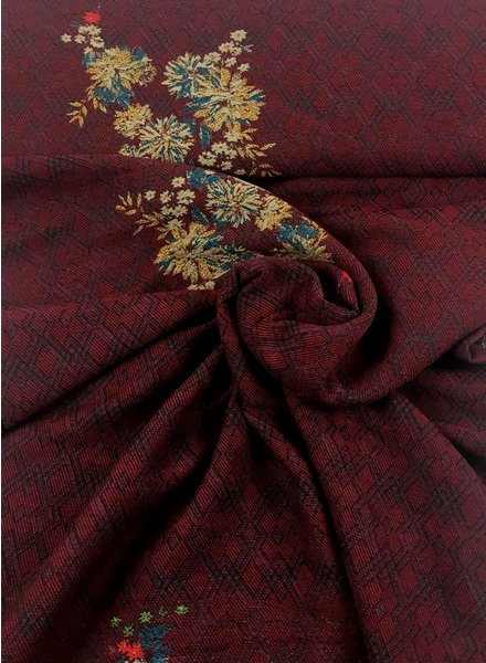 burgundy with flowers and lurex - woven jaquard