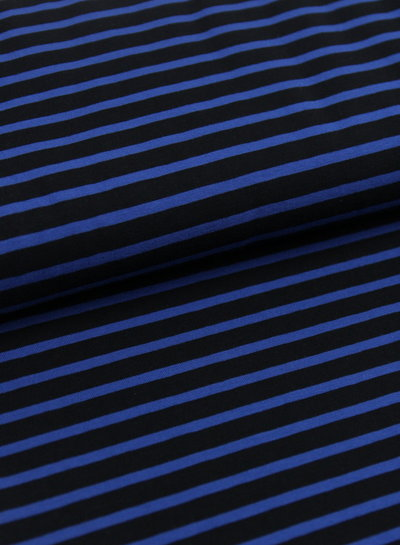 Swafing blauw zwart gestreept - tricot