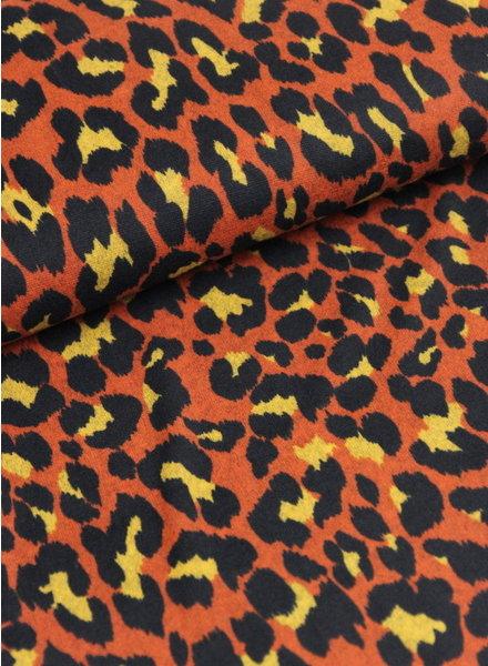 roest leopard - gebreide stof