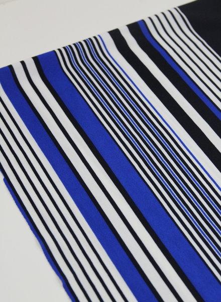 cobalt blue stripes - scuba crepe