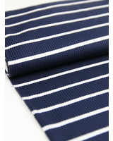 navy white stripes - knitted fabric
