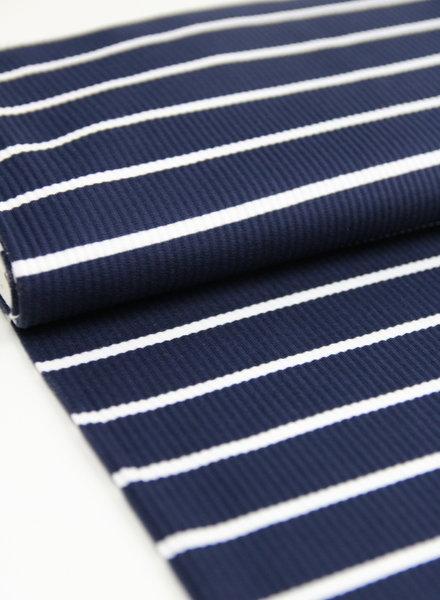 marineblauw wit streepjes - gebreide tricot