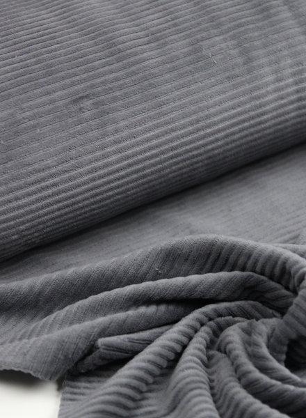 donkergrijs - rekbare corduroy - 100% katoen