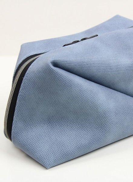 blauw kunstleer voor tassen