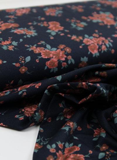 navy Basel flowers - sweater
