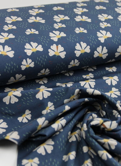 navy Basel retro flowers - sweater