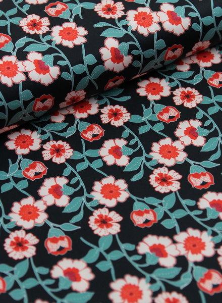 retro flowers - rekbare soepelvallende stof