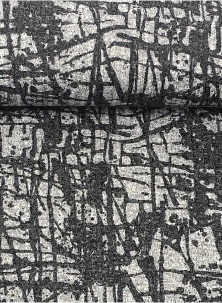 grijs met  grafische print- gebreide viscose jersey