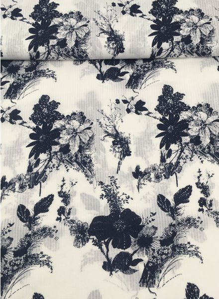 navy blue spring flowers - soft coton