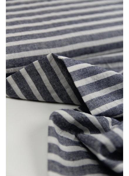horizontal navy washed linnen mix stripes
