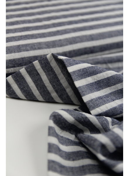 navy washed linen mix stripes