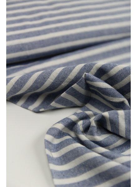 horizontal denim washed linen mix stripes