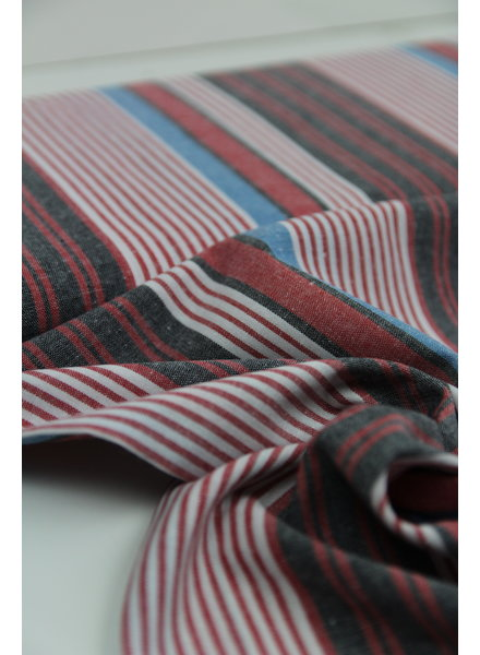 red and blue striped - recycled cotton - linen touch